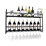 ZH-0 Casiers à vin en métal fixés au mur avec support pour verre à vin, Casier à vin à suspendre européen, Etagère suspendue rétro | Cuisine Bar Restaurant | Design de décoration murale