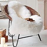QINGLOU Peau de Mouton synthétique,Cozy Sensation comme véritable Laine Tapis en Fourrure synthétique, Fluffy Soft Longhair Décoratif Coussin de Chaise Canapé Natte (Blanc, 50 x 80 cm)