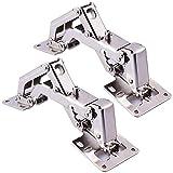 BESTZY 2 X Charnières pliantes en acier inoxydable pour armoires de cuisine Réglables 130-175 degrés charnière de porte armoire