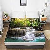 PENVEAT Drap de lit personnalisé avec Impression HD 3D numérique avec élastique, Drap-Housse pour draps Reine/Roi 180/150 / 160x200, forêt d'automne, paysage-09,200x200 30 cm de Profondeur