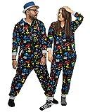NOROZE Hommes Garçons Jeux Combinaison Grenouillère Unisexe Enfants Pyjamas Tout en Un Ensemble Familiale Jumpsuit Joueur Vêtements d'intérieur Cadeaux pour Femmes Filles (11-12 Ans, Noir)