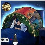 FLAYOR Dream Tents Tente De Lit Enfant,Tente Tunnel Enfants,Tente Enfant Pliable Pop Up,Tente De Lit avec LED, Tente De Jeu avec Lumiere,Cadeau d'anniversaire De Noël (Dinosaures)
