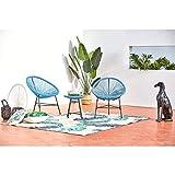 CONCEPT USINE Ensemble de Jardin Acapulco Bleu, 2 fauteuils œuf et Une Table Basse