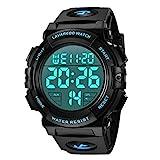 Montre Homme Digitale Outdoor Sport Multifonction Étanche LED Lumière Alarme Calendrier Date avec Bande de Silicone