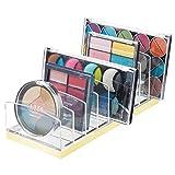 mDesign Rangement pour cosmétiques en Plastique – Rangement Maquillage avec 9 Compartiments – boîte de Rangement pour la Table à Maquillage, la Coiffeuse ou l'armoire – Transparent et Jaune