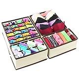 Organisateur de tiroirs Boîtes rangement Diviseurs pliants Armoire Sous-vêtements Chaussettes tissu 4 Set Beige