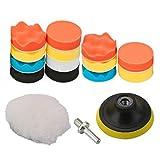 Coussinets de polissage OxoxO pour voiture - Tampons éponge de polissage avec tige pour adapter à une perceuse, à une polisseuse - Ensemble M14