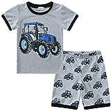 CM-Kid Pyjama pour garçon Dinosaure Vêtements de nuit en coton pour tout-petits Vêtements de nuit d'été à manches courtes 2 pièces pour enfants 1-7 ans - Gris - 4-5 ans