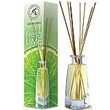 Diffuseur Parfum de Citron Vert 100 ML - avec Huile Essentielle Naturelle de Lime - avec 8 Bâtonnets de Bambou - sans Alcool - Idéal pour Aromathérapie - Spa - Maison - Fragrance Fraîche et Durable