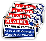 Sticker Alarme Vidéo-Surveillance Autocollant (Lot de 4 Stickers) Protection Laptop Macbook iphone Samsung Sony
