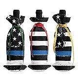 Mince ligne bleue drapeau noir 3 pièces couvercle de bouteille de vin de noël robes d'emballage de bouteille emballage de fête