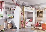 European Smart Furniture - JE-01 Jerry Lit Double Superposés + Matelas + Bureau + Étagères de Rangement, Panneaux Bois : 22mm, Finition Blanc Mat, 252cmX125cmX168cm