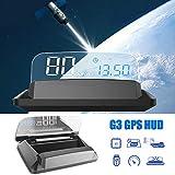 Affichage tête haute de voiture HUD, système GPS iKiKin 5,5 pouces 4K HD Panneau d'affichage transparent HUD affiche l'alarme de compteur de vitesse, compatible avec toutes les voitures et camions