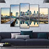 UYEDSR 5 Panneaux muraux Image imprimée sur Paysages riverains de Philadelphie imprimé Maison décor de canapé Chambre
