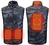 Veste chauffée Veste USB Hommes Hiver, Homme d'automne et d'hiver, Gilet de Chauffage électrique extérieur, randonnée pédestre de la pêche Gilet de Chauffage Veste2020New (Color : Black, Size : M)