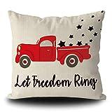 Let Freedom Ring Housse de coussin patriotique vintage campagnard ferme camion rouge avec étoile du 4 juillet 50,8 x 50,8 cm en lin pour canapé, voiture, canapé, chambre à coucher