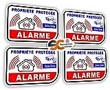 Sticker Alarme Vidéo-Surveillance Autocollant (Lot de 4 Stickers) ALM.3