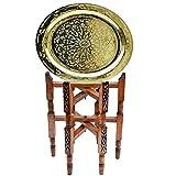 Lorient Lucy Table basse orientale en laiton avec plateau en bois de cèdre Ø 40 cm pour votre salon | Table d'appoint marocaine antique vintage 100 % fabriquée à la main