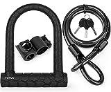 Antivol en U pour vélo, serrure en D à manille robuste avec 3 clés, câble en acier flexible de 1,2 m et support de montage
