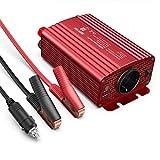 BESTEK Convertisseur Transformateur 12v 220v 240v 500W Onduleur de Tension 2 USB Ports 5V/4.8A et 1 Prise EU,Une Paire de Clips Batterie avec 2 Fusibles pour Chargeur Voiture Bateau Camper-Rouge