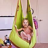 FEMOR Hamac Balançoire Chaise Suspendue avec coussin d'air en Coton pour Jardin d'interieur/extérieur, 70 kg Capacité de Charge, convient aux Bébé Enfants, Adolescents