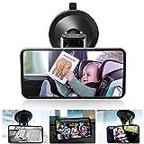DAMIGRAM Miroir Siège Arrière de Bébé, Rétroviseur Incassable de Voiture pour Voir Enfant, Arrière Miroir de Voiture pour Bébé avez une Rotation 360°