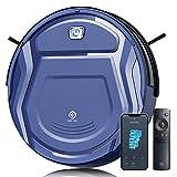 Aspirateur Robot, 2100Pa Mince Aspirateur Robotique, Capteur de Collision 6D App/Alexa/Télécommande 500ml Détection d'Obstacles Silencieux Idéal pour Les Tapis Poil Ras Sols Durs Poils D'animaux K2