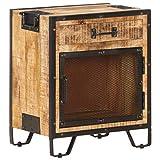 vidaXL Bois de Manguier Massif Brut Table de Chevet Table de Nuit Armoire de Chevet avec 1 Tiroir et 1 Porte Chambre à Coucher Intérieur 43x30x51 cm