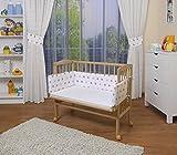 WALDIN Lit cododo pour bébé/berceau avec matelas et tour de lit,bois non traité,16 modèles disponibles,Surface de couchage extra large : L 90 x l 55,couleur du textile blanc/astre gris-rose