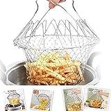SOULBEST Panier à Frire - Panier de Chef en Acier Inoxydable, Tamis Cuisine Inoxydable Fry Extensible Chef Panier Cuisine, Vapeur de Rinçage Crépine Panier de Chef pour Frites Légumes Salades