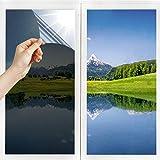 Film Miroir Fenêtre sans Tain Anti UV Anti Chaleur Anti-Regard Contrôle de la Température Protection de la Vie Privée Film Adhésif Réfléchissant pour Fenêtre Maison Bureau (Argent-Noir, 45_x_200_cm)