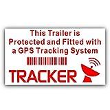 2x Remorque Tracker GPS Avertisseur stickers-red sur blanc external-car, van, camion, camping, Transport, appareil de suivi de sécurité signs-87x 50mm