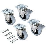 Emuca - Lot de 4 roulettes pivotantes pour meuble Ø50mm avec plaque de fixation et roulement à billes, roulettes en caoutchouc couleur gris