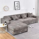 ASCV Housses de canapé en Forme de L pour Salon Housse de canapé élastique Housse de canapé Housse de canapé d'angle Extensible Chaise Longue A3 2 Places
