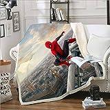 qazxsw Couverture d'hiver Confortable et Facile à Nettoyer Couverture multifonctionnelle canapé Bureau Dessin animé Spiderman Banc extérieur