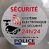 Adhésif - Système Electronique de Sécurité Relié à la Police - Lot de 12 Adhésifs Argent Aspect Alu Brossé- Vitre - Dimensions 75 mm - Protection Anti-UV