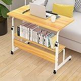 DNNAL Table de Chevet sur lit, Table de lit Mobile de Levage Table de Chevet de dortoir Simple Table de Salle à Manger Mobile avec Table de Rangement,Jaune