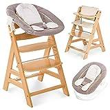 Hauck Alpha Plus Newborn Set - Chaise Haute Bébé en Bois - Évolutive dès naissance/Inclus Transat pour nouveau-né, Coussin assise, Hauteur réglable - Beige naturel