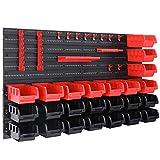 Deuba Etagère murale avec bacs à bec Etagère d'atelier Armoire à outils 43 pièces 28 boites noir rouge Modulable Extensible atelier garage bricolage