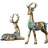 Ornements de bureau Home Décoration Artisanat, Forme elk sculptée à la main, Convient pour armoire de télévision, armoire à vin, chambre à coucher, décoration de bureau Cadeau d'anniversaire de Noël