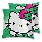 MISS-YAN Hello Kitty Lot de 2 housses de coussin décoratives pour lit/chaise/canapé Vert