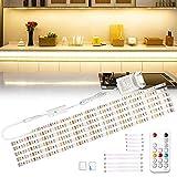 Wobsion Réglette LED 3 m - Blanc chaud - Bande LED - Éclairage d'armoire - Éclairage de cuisine - Barre lumineuse avec télécommande sans fil - 6 x 50 cm - Intensité variable - 2700 K - 1500 lm