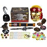 Ulikey Boîte de Coffre au Trésor de Pirate, Pirate Treasure Chasse au Trésor, Pirate Party Supplies avec Pièces d'or Pirate, Diamant de Pirate, Jouets Enfants Halloween Jeu Décoration de Fête