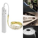 Bande lumineuse à détecteur de mouvement, lumière de nuit, corde flexible de 3 m, alimentée par piles, bande LED blanche pour armoire, chambre, lit, armoire, cuisine (3 m), 1