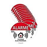 Autocollants dissuasifs Alarme Système électronique, Lot 12 adhésifs Système Électronique, Stickers Alarme 24/24h