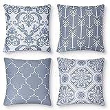 AYUNK Lot de 4 taies d'oreiller décoratives carrées Salon Chambre canapé Housse de Coussin Design géométrique, 45x45cm