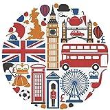 N\A Angleterre Royaume-Uni Voyage Repères Tapis Ronds Antidérapants Tapis De Sol De Cuisine Tapis De Sol Doux pour Chaise Salon Chambre, Diamètre