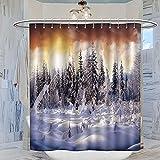 MRFSY Tissu lavable en machine - Paysage naturel de neige et cèdre - Décoration de salle de bain pour fille - 183 x 183 cm