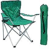 Mojawo Chaise pliante pour la pêche/le camping avec porte-gobelet et sac de transport - Charge maximale:120kg - Vert