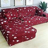 YANJHJY L Forme Housse de canapé d'angle élastique , pour Salon Housse imprimée pour Housses de canapé Stretch 1/2/3/4 siège, 2 Places et 3 Places